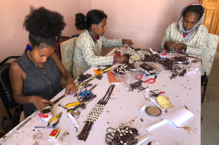 Women learn jewelry making to ensure they never need to sell their bodies again.