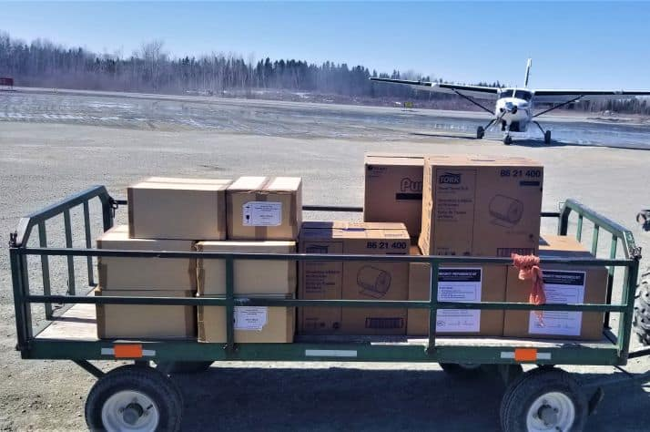 Personal Protective Equipment is delivered to an airport in northern Canada, ready for distribution to health care workers and emergency first responders in remote First Nations communities.