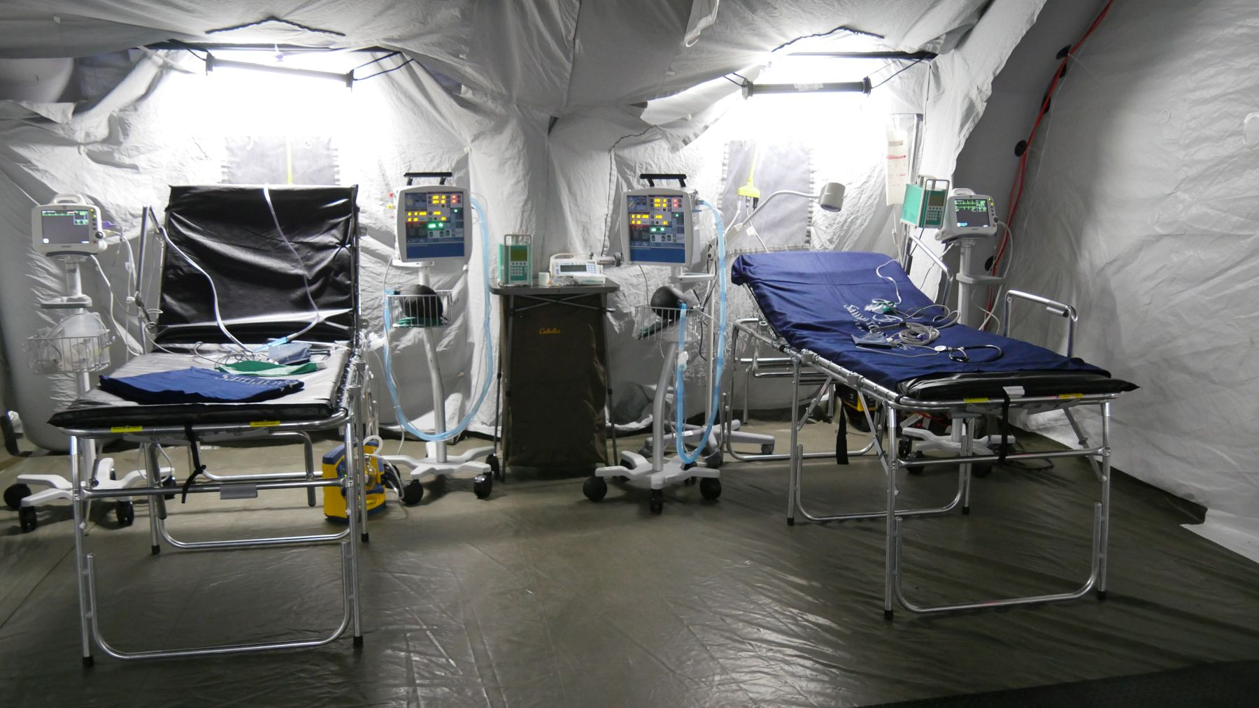 At maximum capacity, the emergency field hospital staff can treat more than 100 patients, perform 15 to 25 surgeries daily, and function as a full hospital.