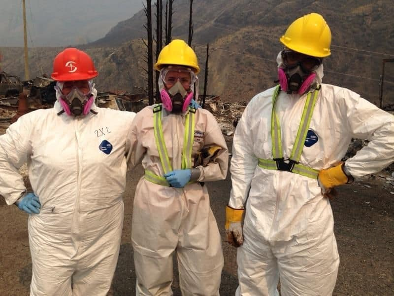 Volunteer fire recovery sifters need to first don personal protective equipment before they work. On this day the weather forecast was to reach 41 degrees.