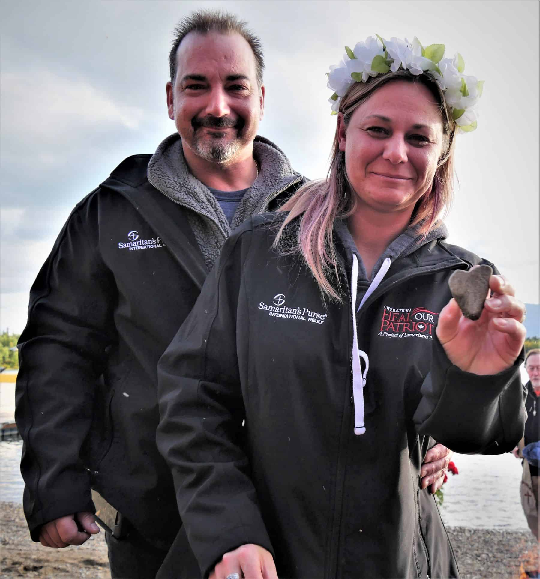 After renewing their wedding vows at Operation Heal Our Patriots, Jennifer was excited to find a 'heart rock' where the ceremony was held on the shore of lake Clark.