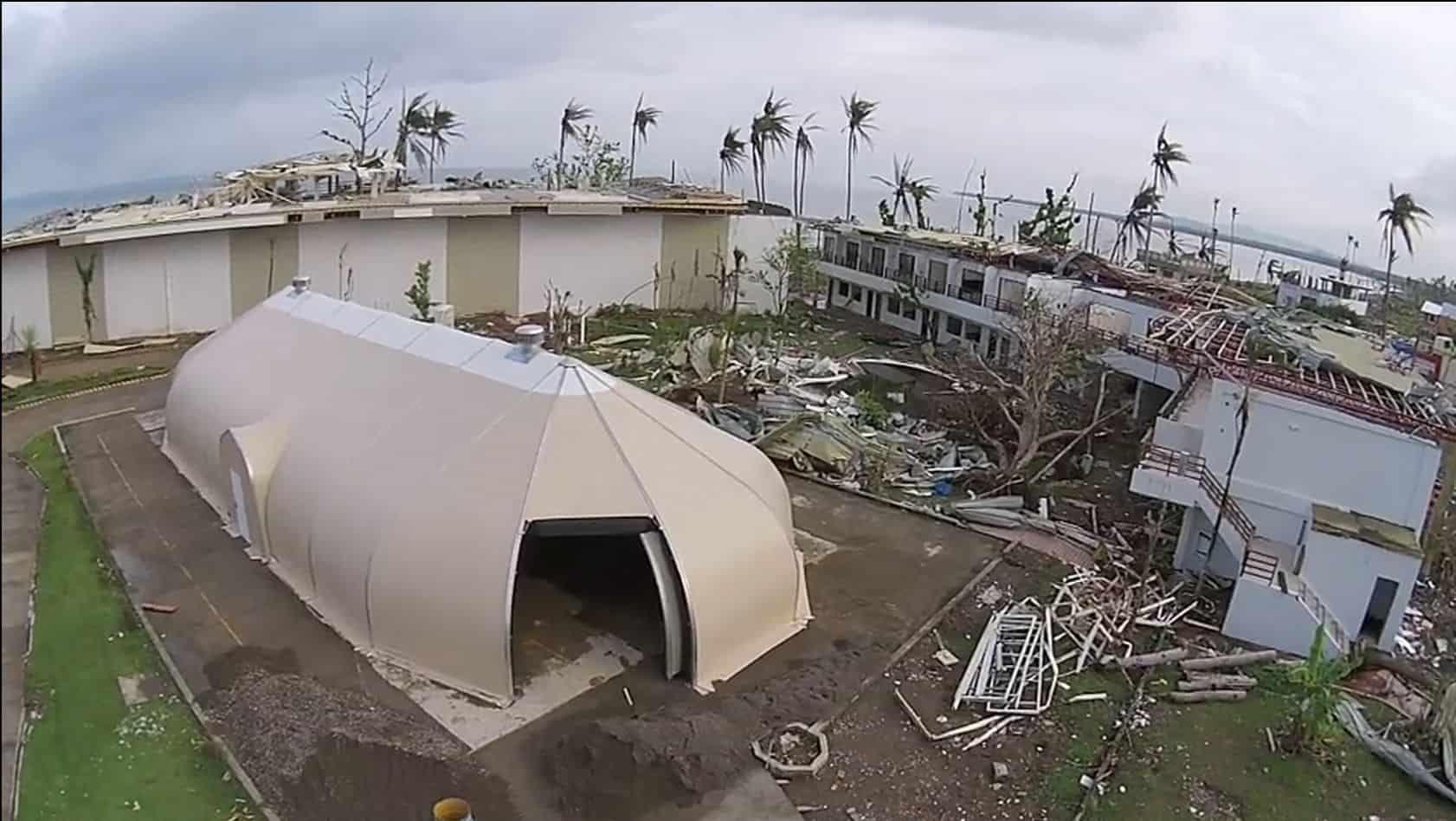 The Sprung Structure relocatable building, 16-meter-by-32-meter, will be erected in Barbuda to serve as Samaritan's Purse's operational and supply hub in the storm-battered region. In this photo is the Spring Structure where it was on location in the Philippines as part of the response to help Typhoon Haiyan victims.