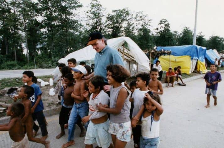 Franklin Graham encourages some of the children who suffered through Hurricane Mitch.