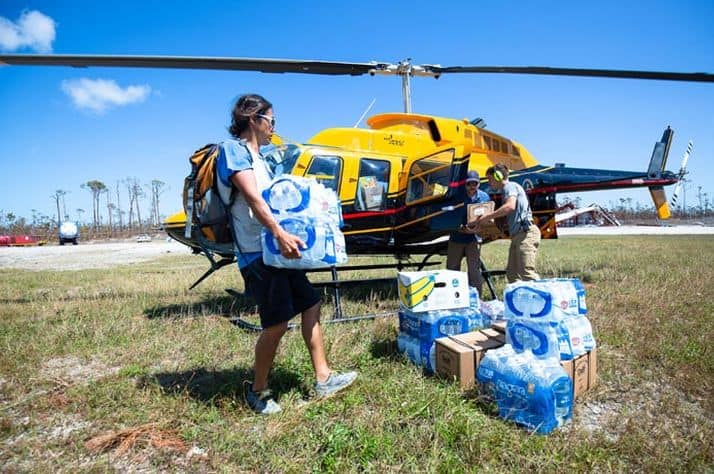 Relief flown to island residents cut off by Hurricane Dorian
