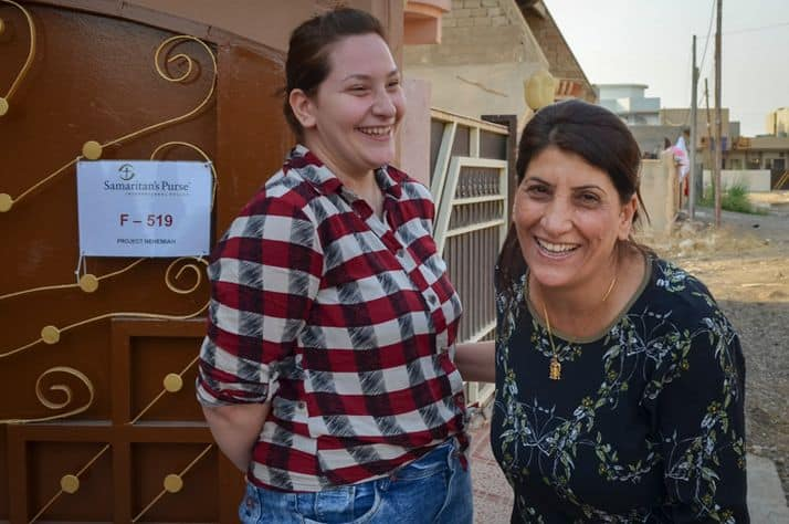 Miriam and her daughter Athra are excited to be back in their home in Qaraqosh, Iraq.