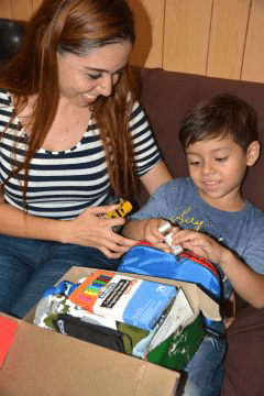 Iliana's five-year-old nephew Samuel received a shoebox from Operation Christmas Child.
