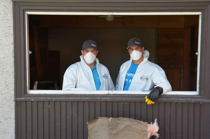 Shaw employees Karl Bohn and Jay Ingham traveled from Castlegar to help Grand Forks flood victims.