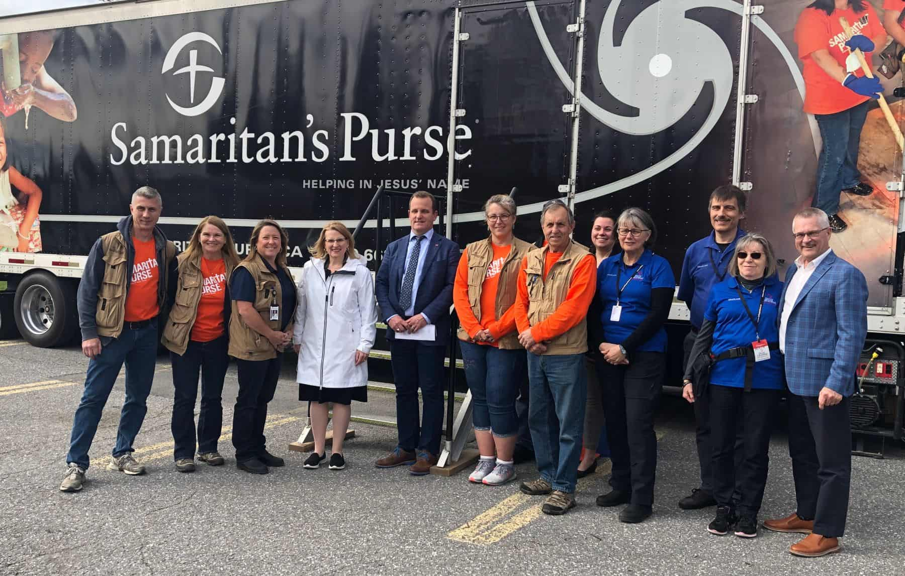 Ontario Solicitor General Sylvia Jones (White jacket) visited the Samaritan's Purse Disaster Relief Unit tractor trailer in Ottawa today. She met with members of the Samaritan's Purse Canadian Disaster Relief team, and Billy Graham Rapid Response Team chaplains, who together are providing physical and spiritual help to flooded Ottawa residents.