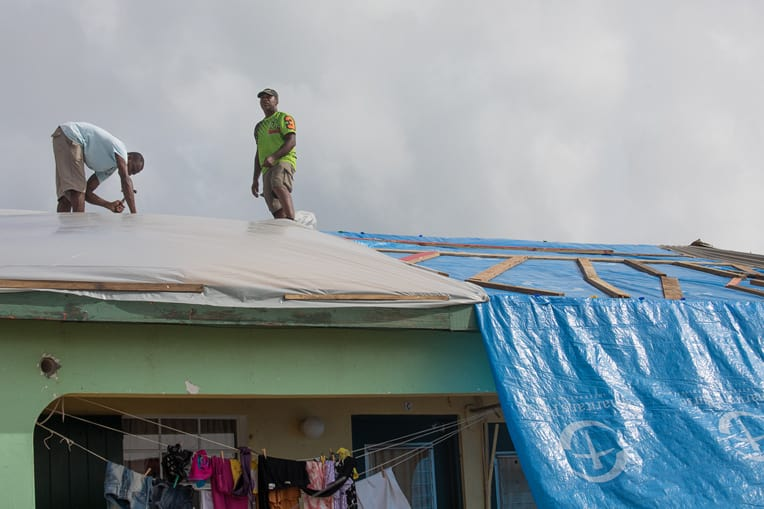 Samaritan's Purse blue shelter plastic is being distributed in St. Martin.