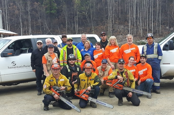 Samaritan's Purse staff and volunteers with local residents in Northern B.C. Middle row, right side: Rosanna and Tom Morin