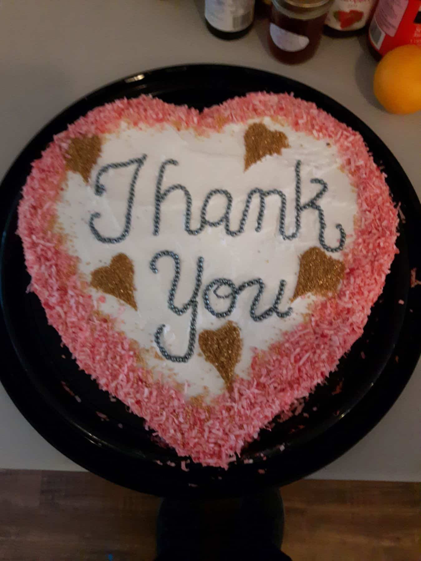 Gaylene baked this cake to thank the Samaritan's Purse volunteers and Billy Graham chaplains the night before they left for home.