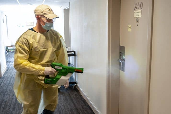 A Samaritan's Purse team member helps clean and sanitize at a COVID-19 isolation recovery center in Thunder Bay, Ontario.