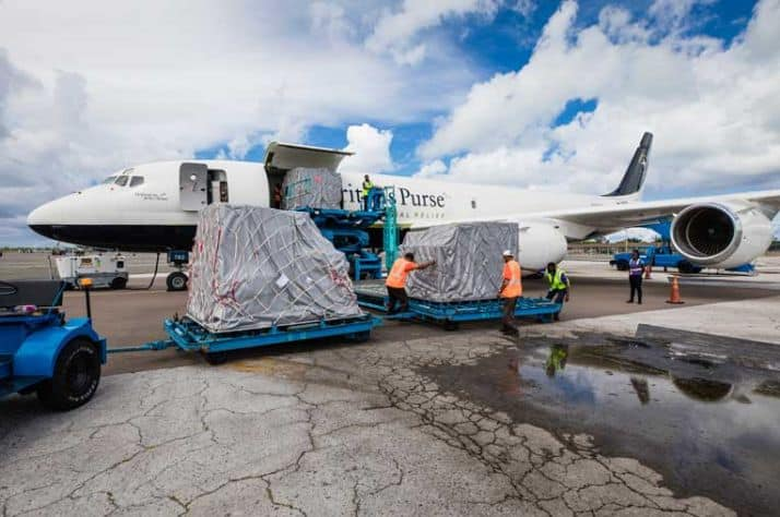The plane was unloaded in Nassau, the Bahamas, on Oct. 15