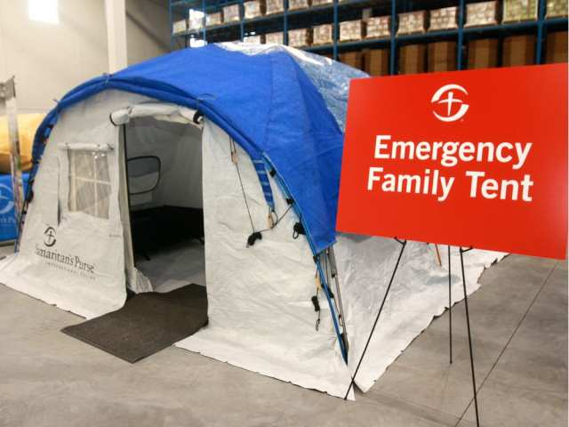 An example of the emergency family tents Samaritan's Purse is able to transport to areas in need of emergency housing. DEAN PILING/POSTMEDIA