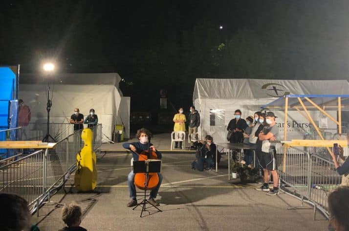 A concert played by cellist Andrea Nocerino of Cremona, Italy for the Canadian emergency hospital. Photo: Bev Kauffeldt