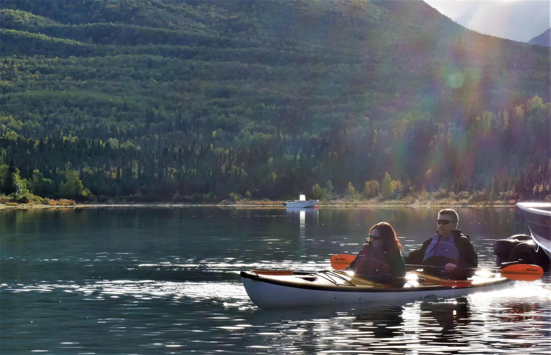 Couples began the week at Operation Heal Our Patriots learning a lesson in patience through tandem kayaking on the beautiful Lake Clark, home to the Samaritan Lodge in Port Alsworth Alaska.
